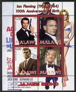 Malawi 2008 Ian Fleming 100th Birth Anniversary (James Bond) #2 perf sheetlet containing 4 values fine cto used