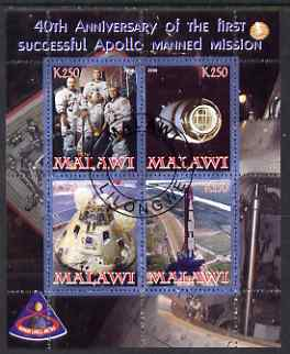 Malawi 2008 Apollo 40th Anniversary First Flight perf sheetlet containing 4 values fine cto used