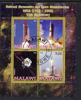 Malawi 2008 NASA 50th Anniversary perf sheetlet containing 4 values fine cto used