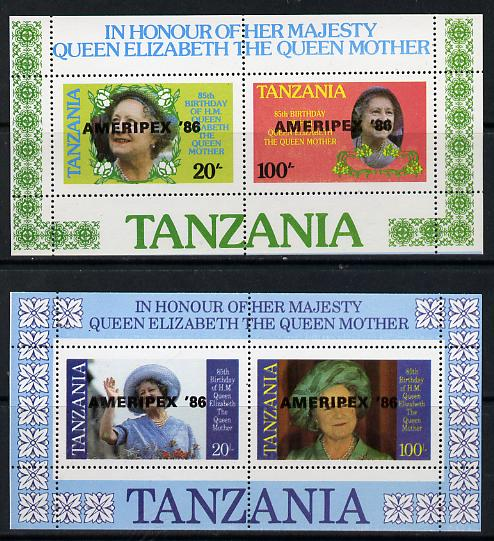 Tanzania 1986 Queen Mother perf proof set of 2 m/sheets each with 'AMERIPEX 86' opt in black (unissued) unmounted mint