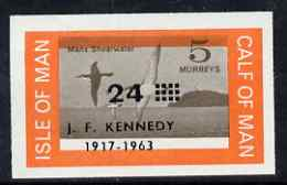 Calf of Man 1966 Manx Shearwater 24m on 5m with Kennedy overprint imperf proof with opt and central vignette misplaced on gummed paper handstamped Proof in violet on back...