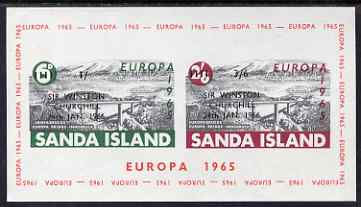 Sanda Island 1966 Churchill overprint & surcharge on 1965 Europa Bridge m/sheet, unmounted mint but slight wrinkles, Rosen S69