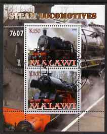 Malawi 2008 Steam Railways perf sheetlet #1 containing 2 values fine cto used
