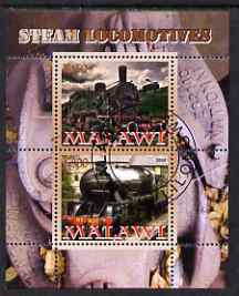 Malawi 2008 Steam Railways perf sheetlet #2 containing 2 values fine cto used