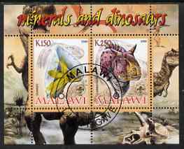 Malawi 2008 Minerals & Dinosaurs perf sheetlet #1 containing 2 values with Scout Logo fine cto used