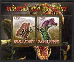 Malawi 2008 Minerals & Dinosaurs perf sheetlet #2 containing 2 values with Scout Logo fine cto used