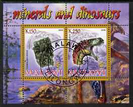 Malawi 2008 Minerals & Dinosaurs perf sheetlet #4 containing 2 values with Scout Logo fine cto used