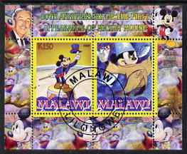 Malawi 2008 Disney - 80th Anniversary of Mickey Mouse perf sheetlet #1 containing 2 values fine cto used