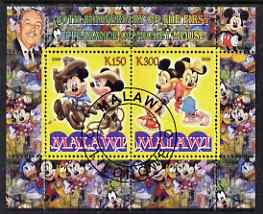 Malawi 2008 Disney - 80th Anniversary of Mickey Mouse perf sheetlet #4 containing 2 values fine cto used