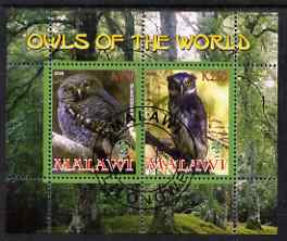 Malawi 2008 Owls of the World perf sheetlet #1 containing 2 values with Scout Logo fine cto used