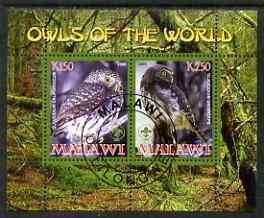 Malawi 2008 Owls of the World perf sheetlet #2 containing 2 values with Scout Logo fine cto used