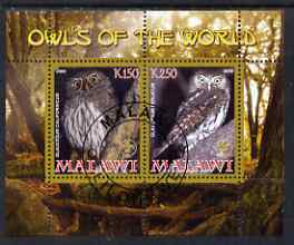 Malawi 2008 Owls of the World perf sheetlet #4 containing 2 values with Scout Logo fine cto used