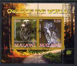 Malawi 2008 Owls of the World perf sheetlet #5 containing 2 values with Scout Logo fine cto used