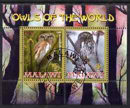 Malawi 2008 Owls of the World perf sheetlet #7 containing 2 values with Scout Logo fine cto used