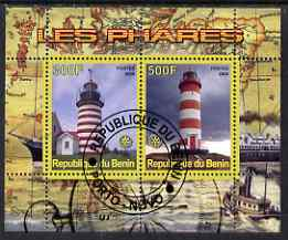 Benin 2008 Lighthouses perf sheetlet containing 2 values with Rotary Logo fine cto used