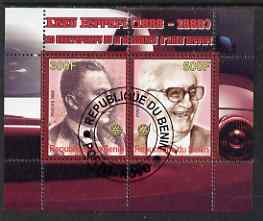 Benin 2008 Enzo Ferrari - 120th Birth Anniversary perf sheetlet #1 containing 2 values with Rotary Logo fine cto used