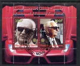 Benin 2008 Enzo Ferrari - 120th Birth Anniversary perf sheetlet #2 containing 2 values with Rotary Logo fine cto used