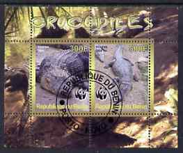 Benin 2008 WWF - Crocodiles perf sheetlet containing 2 values fine cto used