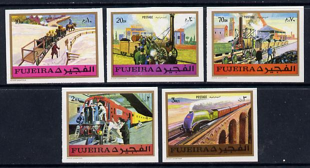 Fujeira 1971 Trains imperf set of 5 unmounted mint, Mi 635-39B*