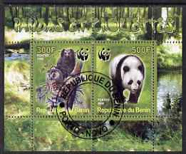 Benin 2008 WWF - Owls & Bears perf sheetlet containing 2 values fine cto used