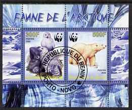 Benin 2008 WWF - Arctic Fauna, Owls & Bears perf sheetlet containing 2 values fine cto used
