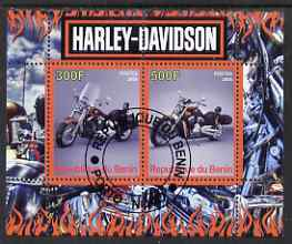 Benin 2008 Harley Davidson Motorcycles perf sheetlet containing 2 values fine cto used