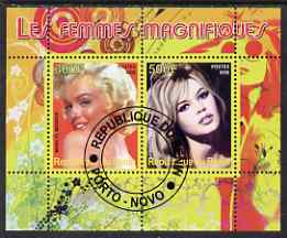 Benin 2008 Famous Women perf sheetlet containing 2 values (Marilyn & Brigitte Bardot) fine cto used