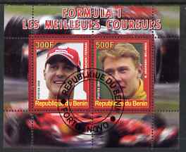 Benin 2008 Formula 1 - Great Drivers perf sheetlet #1 containing 2 values (M Schumacher & M Hakkinen) fine cto used