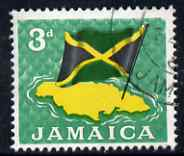 Jamaica 1964-68 National Flag & Map 3d fine cds used SG221