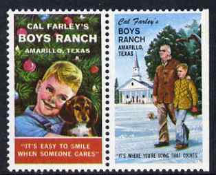 Cinderella - United States Boys Ranch, Amarillo, Texas se-tenant set of 2 labels unmounted mint (vert labels)