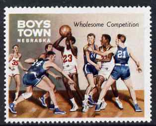 Cinderella - United States Boys Town, Nebraska unmounted mint label showing boys playing basketball