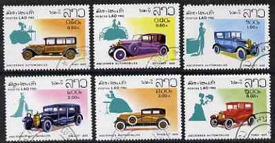 Laos 1982 Classic Cars perf set of 6 fine cto used, SG 599-604