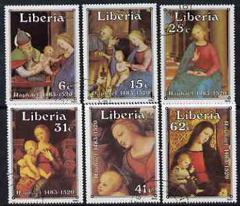 Liberia 1983 Christmas 500th Birth Anniversary of Raphael perf set of 6 fine cto used, SG 1557-62