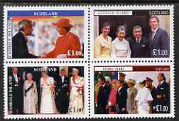 Easdale 1998 Visit of Japanese Emperor se-tenant perf block of 4 x \A31 values unmounted mint