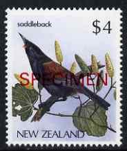 New Zealand 1982-89 Saddleback $4 from Native Birds def set overprinted SPECIMEN unmounted mint, SG 1295s