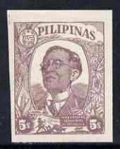 Philippines - Japanese Occupation 1945 First Anniversary of Govt 5c purple-brown without gum SG J45