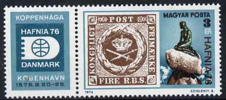 Hungary 1976 HAFNIA 76 Stamp Exhibition perf se-tenant with label unmounted mint, SG 3049