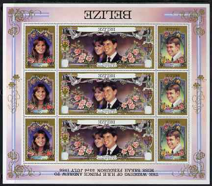 Belize 1986 Royal Wedding perf sheetlet containing 9 values (3 sets of 3) with black printing inverted (country, inscription and value) unmounted mint and most unusual, a...