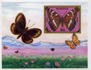 Mongolia 1992 Butterflies IMPERF m/sheet mounted in folder entitled HOUSE OF QUESTA - PROOFS, rare and most unusual