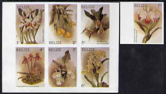 Lesotho 1987 Christmas - Orchids imperf set of 7 values comprising 1c to 6c in se-tenant block plus 7c marginal single, all unmounted mint but wrinkled, as SG 1009-15