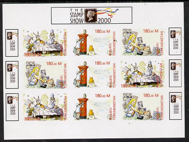 Turkmenistan 2000 Stamp-Show 2000 imperf sheetlet containing 9 values (3 sets of 3 Childrens Stories) unmounted mint. Note this item is privately produced and is offered purely on its thematic appeal