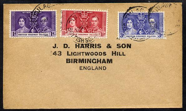 Solomon Islands 1937 KG6 Coronation set of 3 on cover with first day cancel addressed to the forger, J D Harris.  Harris was imprisoned for 9 months after Robson Lowe exp...