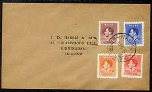 Nauru 1937 KG6 Coronation set of 4 on cover with first day cancel addressed to the forger, J D Harris.  Harris was imprisoned for 9 months after Robson Lowe exposed him f..., stamps on , stamps on  kg6 , stamps on forgery, stamps on forger, stamps on forgeries, stamps on coronation