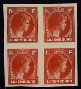 Luxembourg 1944 Grand Duchess Charlotte (SG type 70) IMPERF proof block of 4 of 1.5F in orange on thick card (ex ABN Co archives) only one sheet known