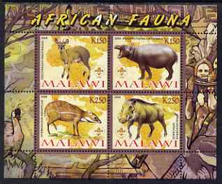 Malawi 2008 African Fauna perf sheetlet containing 4 values, each with Scout logo unmounted mint
