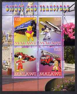 Malawi 2008 Disney & Transport perf sheetlet containing 4 values unmounted mint, stamps on disney, stamps on transport, stamps on railways, stamps on aviation, stamps on shuttle, stamps on cars, stamps on  f1 , stamps on racing cars, stamps on formula 1, stamps on fire, stamps on bears