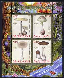 Malawi 2008 Fungi #1 perf sheetlet containing 4 values, each with Scout logo unmounted mint