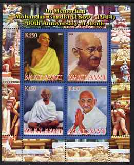 Malawi 2008 Gandhi 60th Death Anniversary perf sheetlet containing 4 values unmounted mint