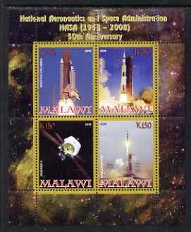 Malawi 2008 NASA 50th Anniversary perf sheetlet containing 4 values unmounted mint