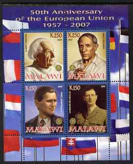 Malawi 2008 European Union 50th Anniversary perf sheetlet containing 4 values unmounted mint